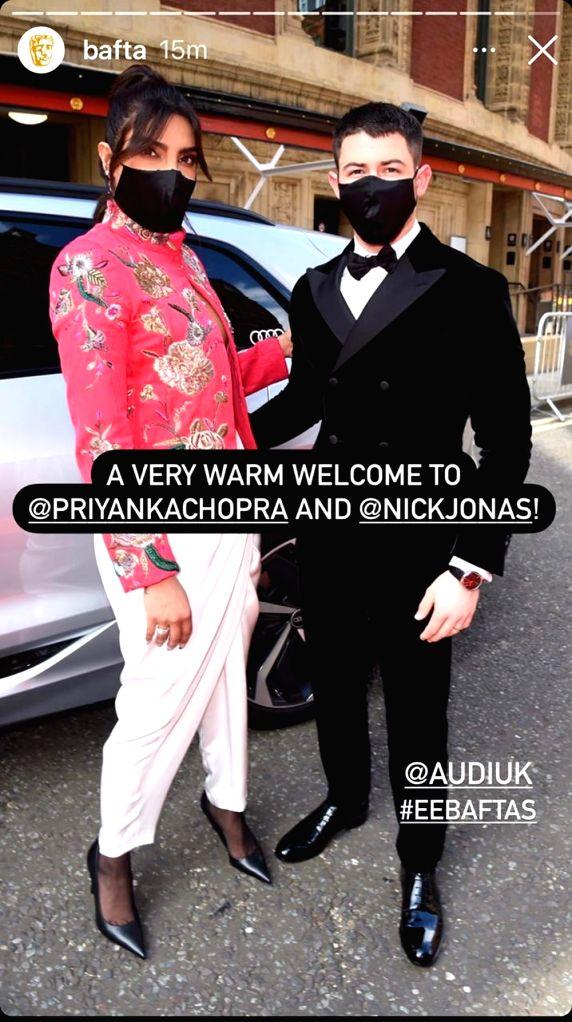 Priyanka, Nick go ???black,red??? on BAFTA red carpet.