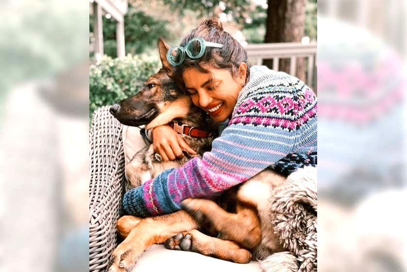 Priyanka's pet dog loves her cuddles.