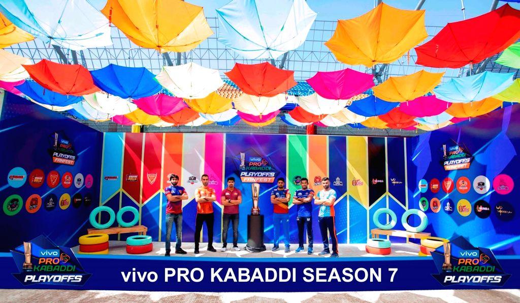 Pro Kabaddi top 6 Teams' Captains pose with the Pro Kabaddi Season 7 trophy in Ahmedabad on Oct 13, 2019.