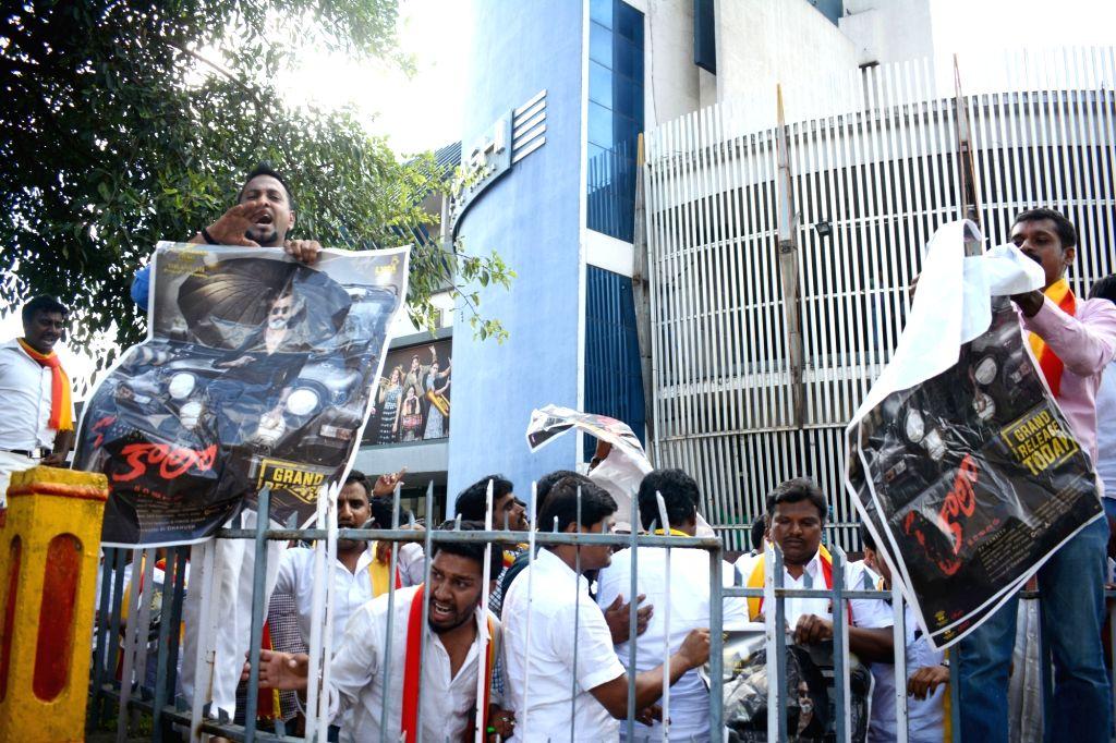 "Pro-Kannada activists stage a demonstration against Rajinikanth's ""Kaala"" in Bengaluru, on June 6, 2018."