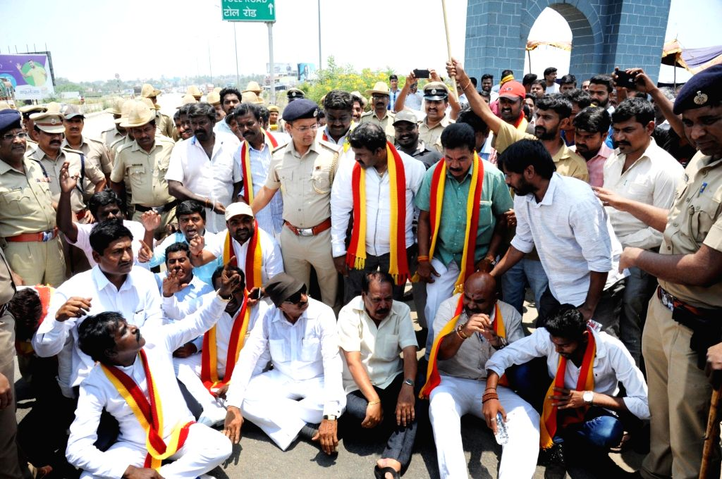 Pro-Kannada activists stage a demonstration over Cauvery water dispute, in Bengaluru on April 5, 2018.