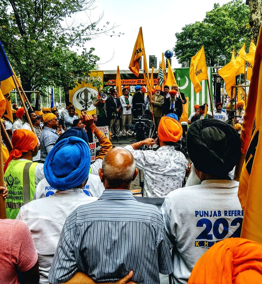 Pro-Khalistan protesters, joined by a few Pakistanis and Kashmiris, held a protest outside the United Nations in New York on Thursday, August 15, 2019, demanding the reinstatement of Kashmir's ...