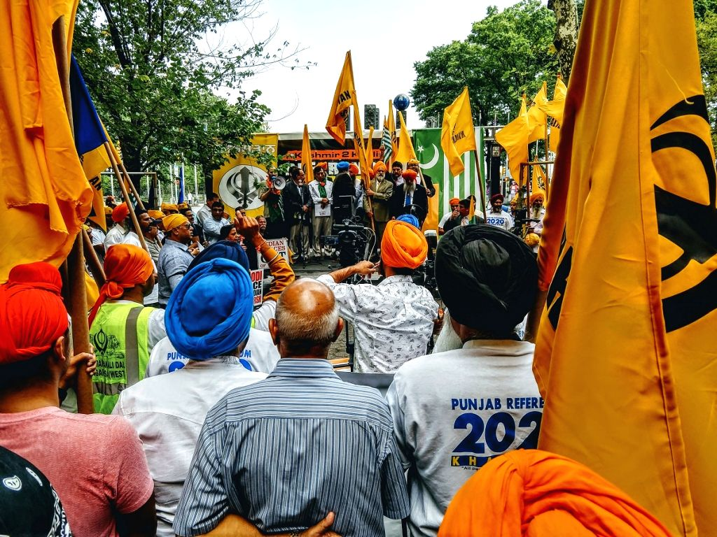 Pro-Khalistan protesters, joined by a few Pakistanis and Kashmiris, held a protest outside the United Nations in New York on Thursday, August 15, 2019, demanding the reinstatement of Kashmir's special status. (Photo: IANS)