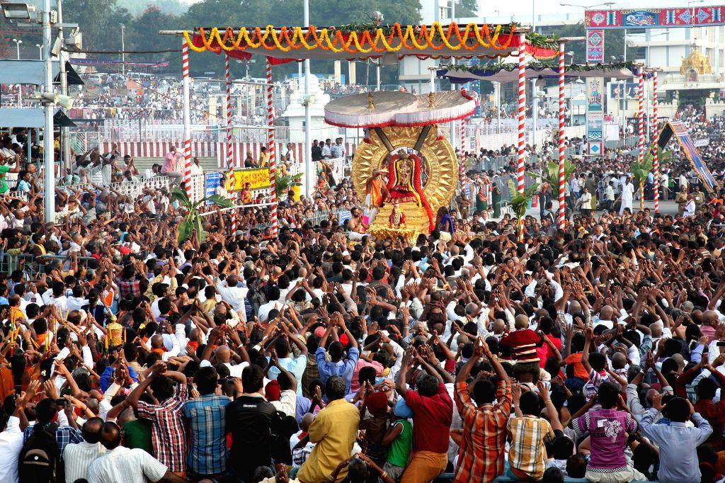 Processional deity of Lord Malayappaswamy taken out around four mada streets at Tirumala during Radhasapthami Festival on Feb. 17. (Photo: IANS)