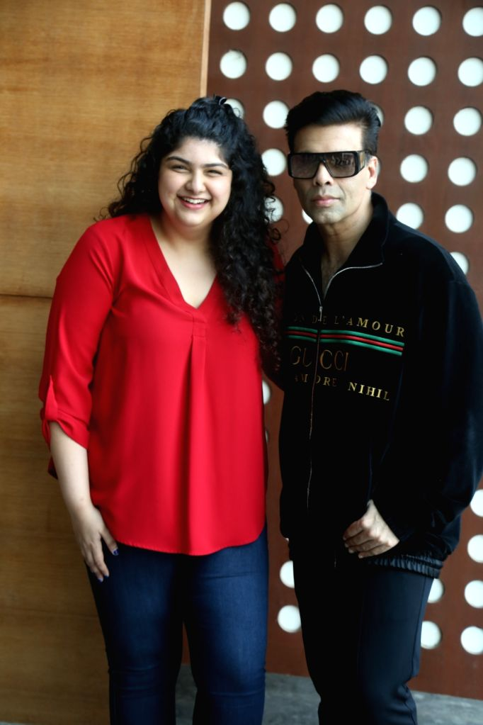 Producer Boney Kapoor's daughter Anshula Kapoor and filmmaker Karan Johar during a programme in Mumbai on Nov 5, 2019. - Karan Johar, Boney Kapoor and Anshula Kapoor