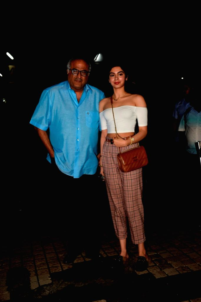 "Producer Boney Kapoor with his daughter Khushi Kapoor at the special screening of upcoming film ""Dhadak"" on July 14, 2018. - Boney Kapoor and Khushi Kapoor"