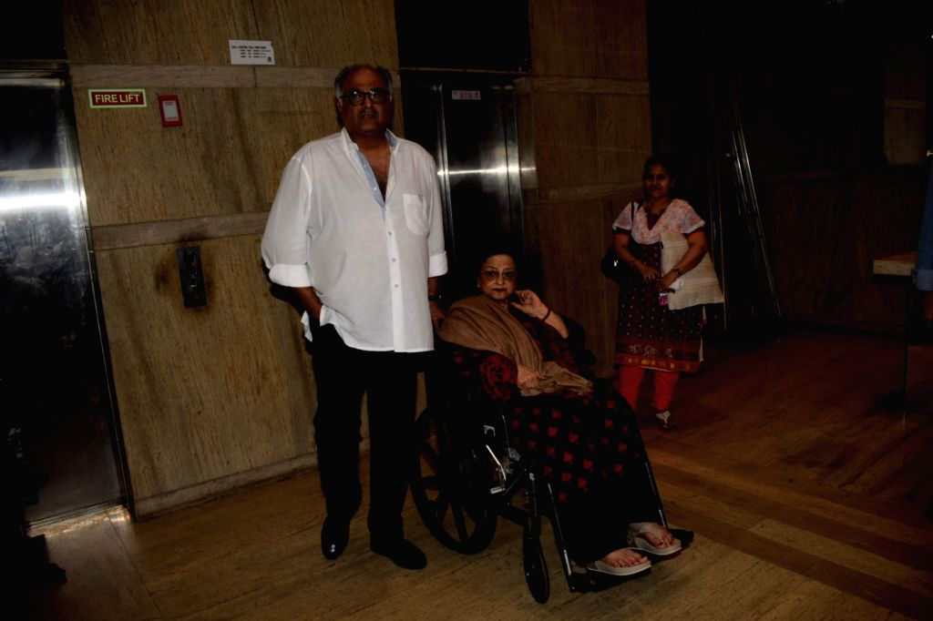 "Producer Boney Kapoor with his mother Nirmal Kapoor at the special screening of film ""Dhadak"" in Mumbai on July 19, 2018. - Boney Kapoor and Nirmal Kapoor"