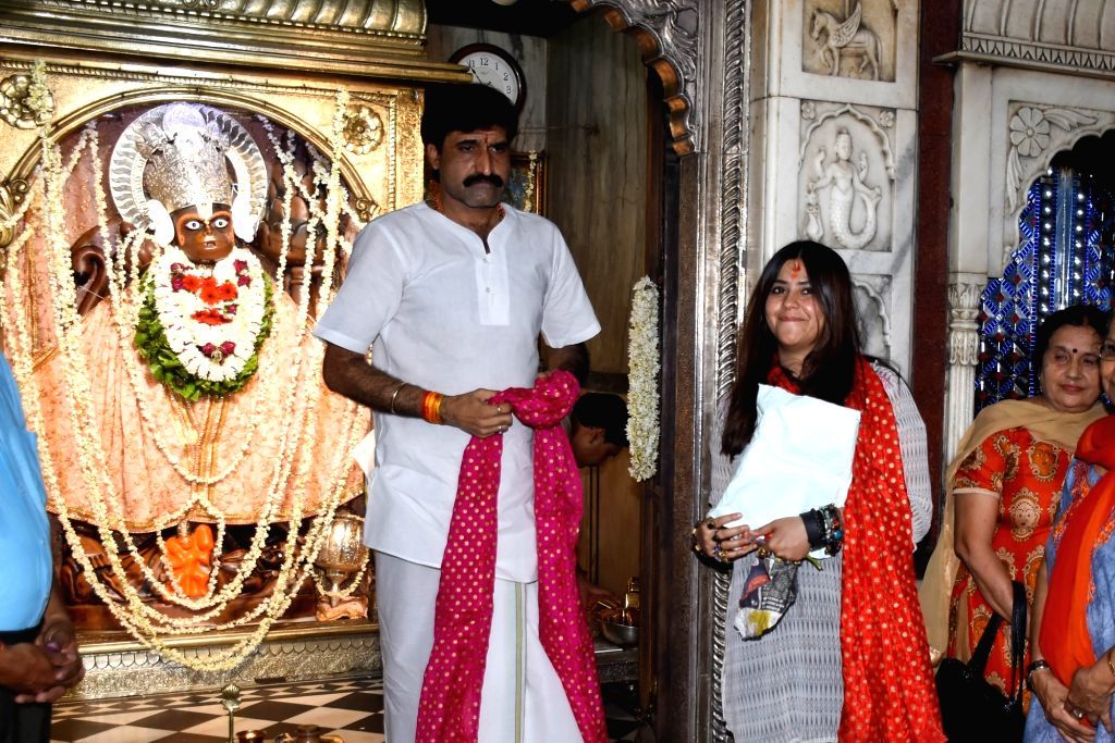Producer Ekta Kapoor pays obeisance at Kale Hanuman temple in Jaipur, on July 18, 2019. - Ekta Kapoor