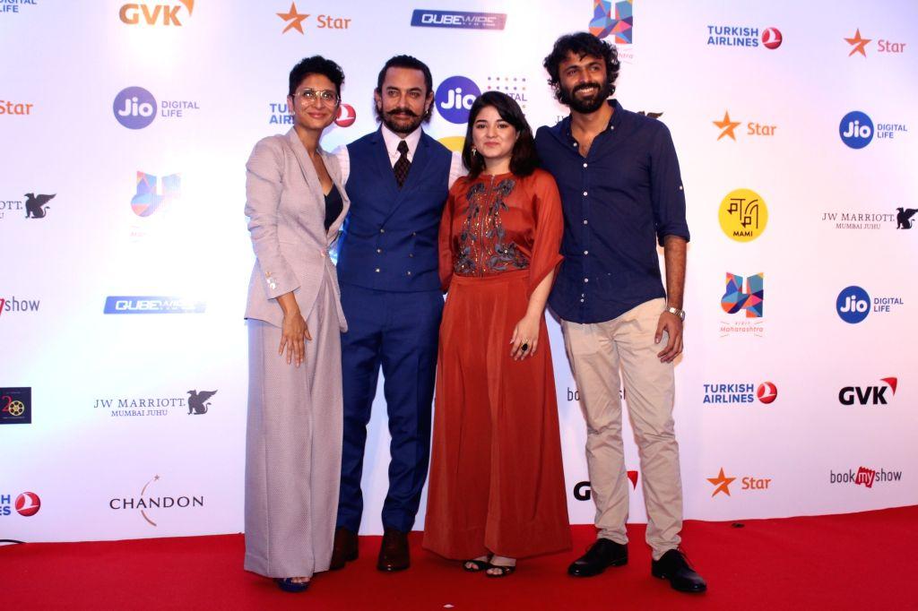 Producer Kiran Rao, Actors Aamir Khan, Zaira Wasim and Director Advait Chandan at Mami Movie Mela 2017 in Mumbai on Oct 12, 2017. - Aamir Khan, Zaira Wasim, Director Advait Chandan and Kiran Rao
