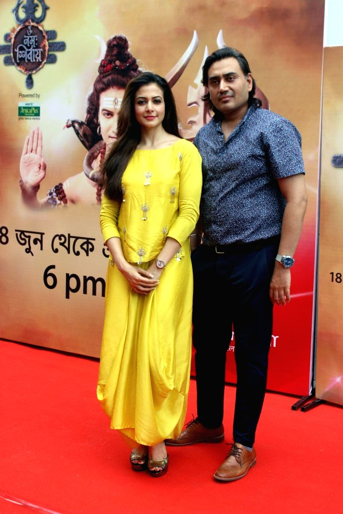 "Producer Nispal Singh and his wife actress Koel Mallick at the launch of upcoming mythological show ""Om Namah Shivay"" in Kolkata, on June 14, 2018. - Koel Mallick and Nispal Singh"