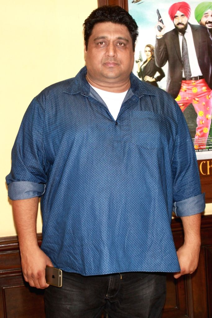 """Producer Rajesh Banga during a press conference to promote their upcoming Punjabi film """"Vaisakhi List"""" in New Delhi on April 16, 2016."""