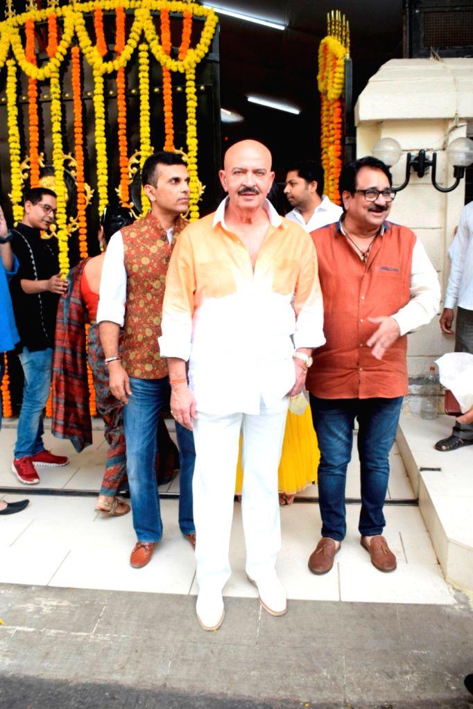 Producer Rakesh Roshan at producer Ekta Kapoor's residence for Ganpati Celebrations in Mumbai on Sept 16, 2018. - Rakesh Roshan and Ekta Kapoor