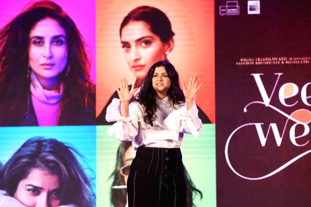 """Producer Rhea Kapoor at the music launch of her upcoming film """"Veere Di Wedding"""" in Mumbai on May 22, 2018. - Rhea Kapoor"""