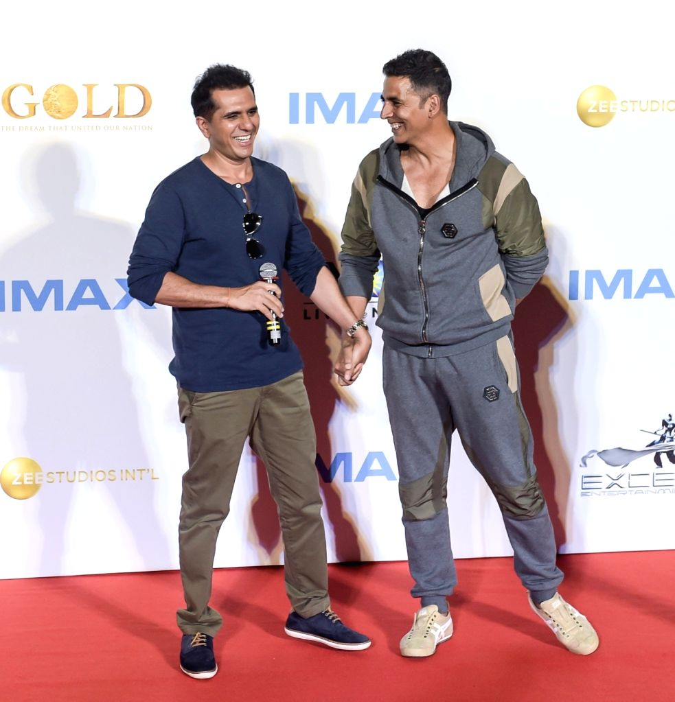 """Producer Ritesh Sidhwani and actor Akshay Kumar at the IMAX trailer and poster launch of their upcoming film """"Gold"""" in Mumbai on August 1, 2018. - Akshay Kumar"""