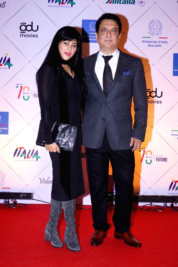 Producer Sajid Nadiadwala along with his wife Wardha Khan at the red carpet of Volare Awards 2018 in Mumbai on Feb 9, 2018. - Wardha Khan