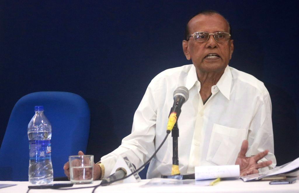 Professor A.C. Kamaraj addresses during a press conference in New Delhi on Sept 9, 2017.