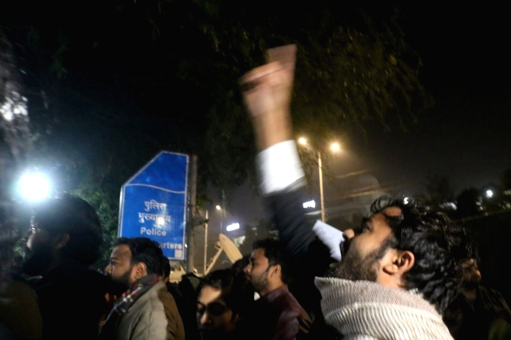 Protesters at Delhi Police headquarters agitating against the violence at Jamia Nagar in New Delhi on Dec. 14, 2019.