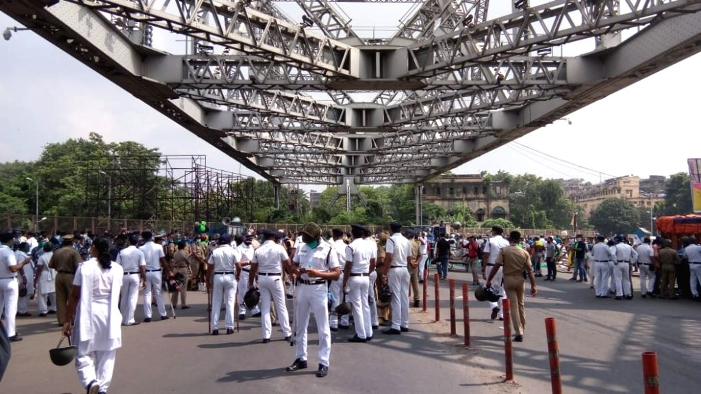 "Protesting ""worsening law and order situation"" in West Bengal, the Bharatiya Janata Party's state unit took out a protest march to the state secretariat Nabanno, in Kolkata on Oct ..."