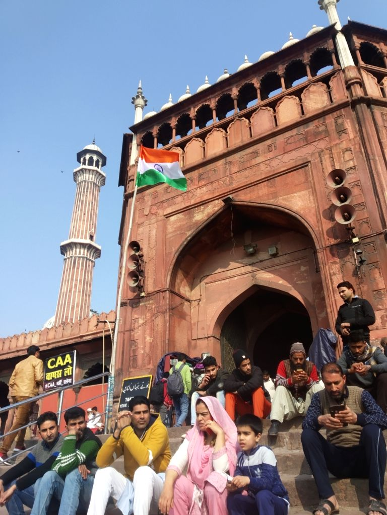 Protests against Citizenship Amendment Act (CAA) 2019, National Register of Citizens (NRC) and National Population Register (NPR) continue at Jama Masjid amid voting for Delhi Assembly ...