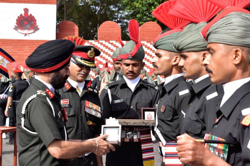Provost Marshal Corps of Military Police Major General MJS Tiwana felicitates 94 Recruit trainees during their Passing Out Parade at Corps of Military Police at the CMP Centre and School, ...