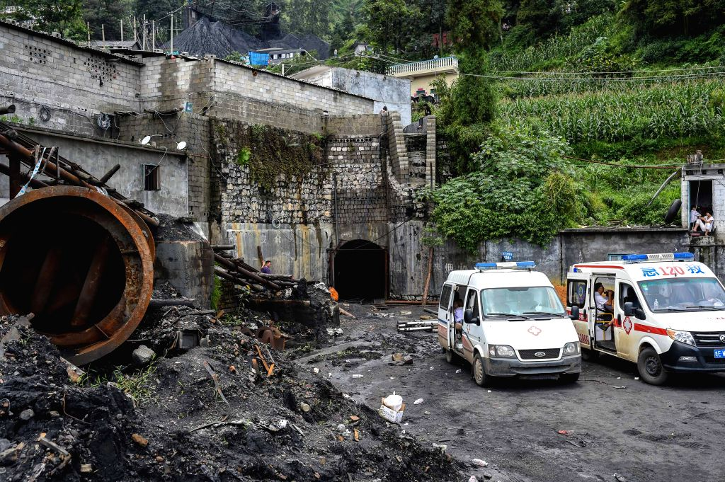 PU'Ambulances are seen at the site of a coal mine accident in Pu'an County, southwest China's Guizhou Province, Aug. 12, 2015. Ten people were killed and three are ...