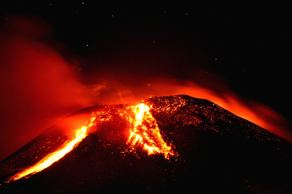 View of the erupting Villarrica Volcano, 18km south of Pucon, and 128km southeast of Temuco, in the 9th region of La Auracania, Chile, on March 3, 2015. The central ...