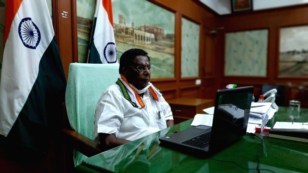 Puducherry Chief Minister V Narayanasamy attends the 4th interaction with Chief Ministers of all states and Union territories chaired by Prime Minister Narendra Modi through video conferencing; in ... - V Narayanasamy and Narendra Modi