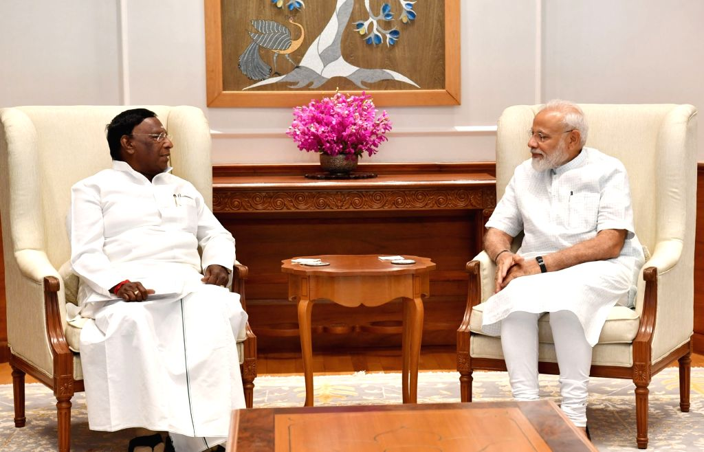 Puducherry Chief Minister V. Narayanasamy meets Prime Minister Narendra Modi, in New Delhi on June 15, 2019. - V. Narayanasamy and Narendra Modi