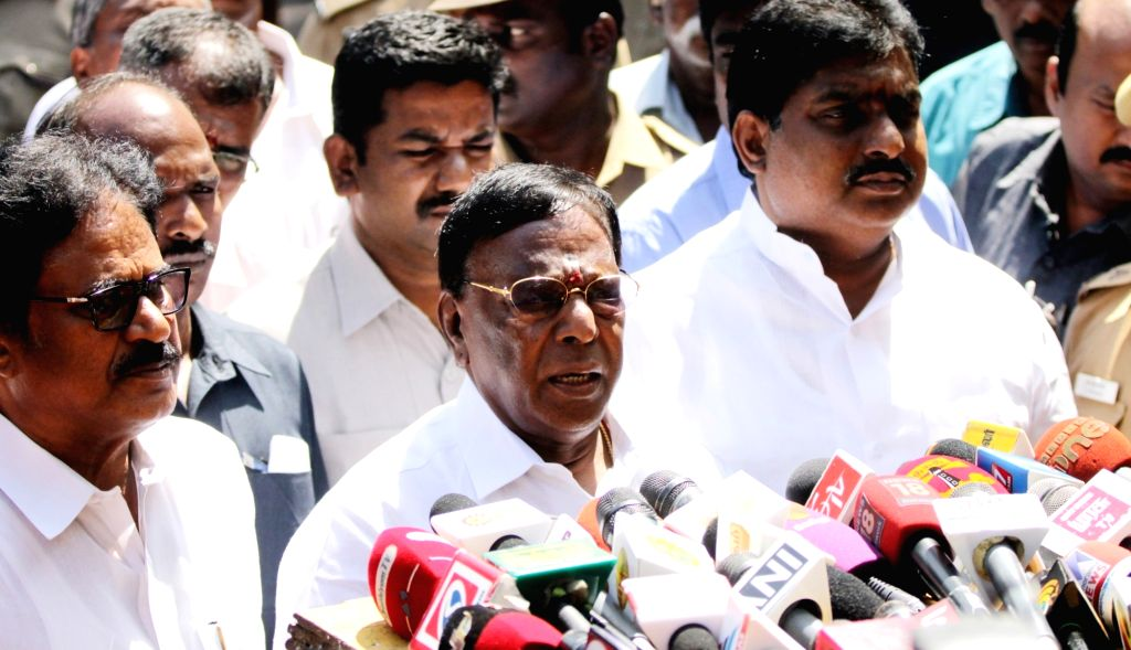 Puducherry Chief Minister V Narayanaswamy talks to press in in Chennai on Oct 9, 2016. - V Narayanaswamy