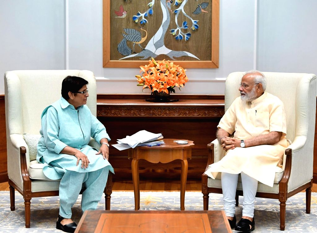 Puducherry Lieutenant Governor Dr. Kiran Bedi meets Prime Minister Narendra Modi, in New Delhi on June 1, 2019. - Narendra Modi and Kiran Bedi