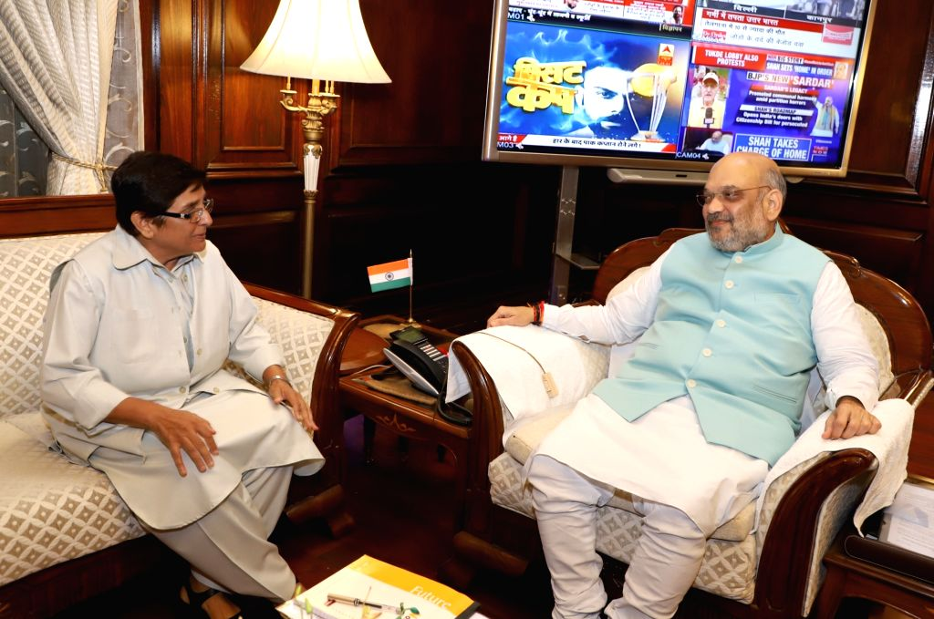 Puducherry Lieutenant Governor Dr. Kiran Bedi meets Union Home Minister Amit Shah, in New Delhi on June 1, 2019. - Amit Shah and Kiran Bedi