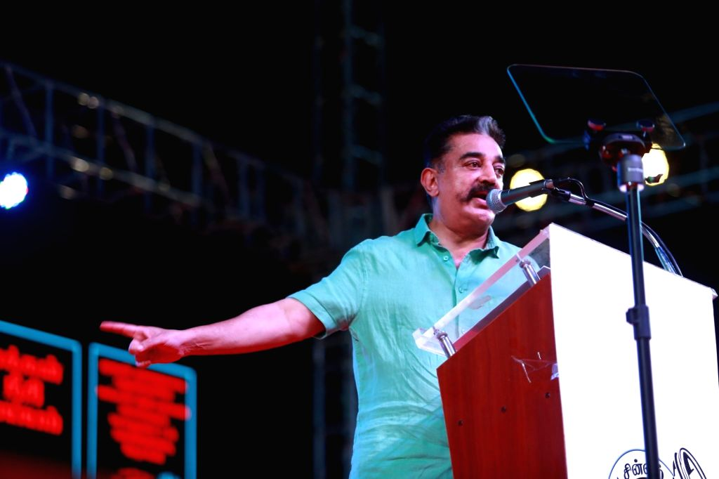 Puducherry: Makkal Needhi Maiam (MNM) President Kamal Haasan addresses during a party rally in Puducherry, on March 31, 2019. (Photo: IANS)