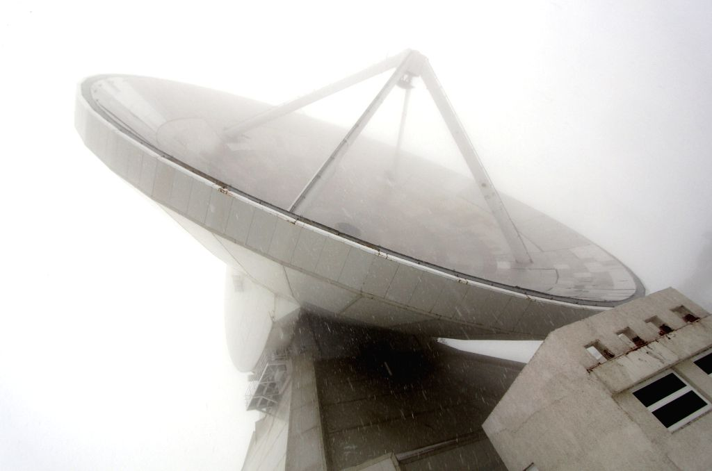 """The photo taken on March 30, 2015 shows the Great Milimetric Telescope (GTM) """"Alfonso Serrano"""" at the peak of the Sierra Negra, in Puebla state, Mexico. ..."""