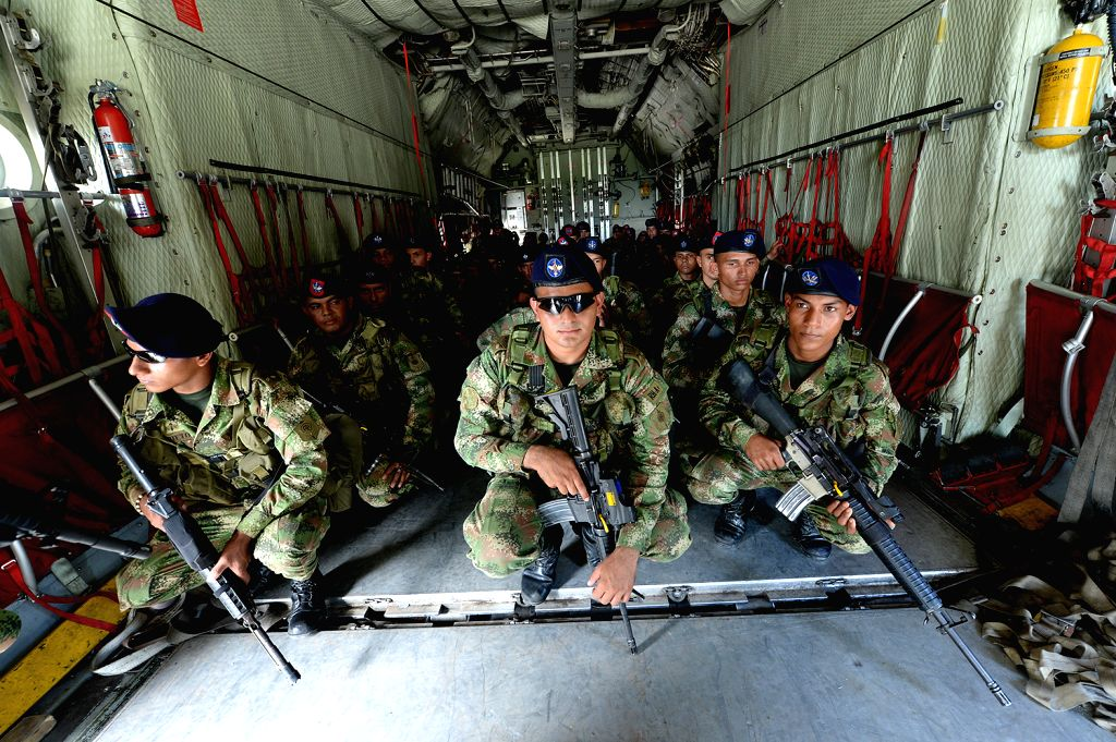Image provided by the Ministry of Defense of Colombia shows soldiers of the Colombian Special Forces arriving in Puerto Asis town, Putumayo, Colombia, on July ..