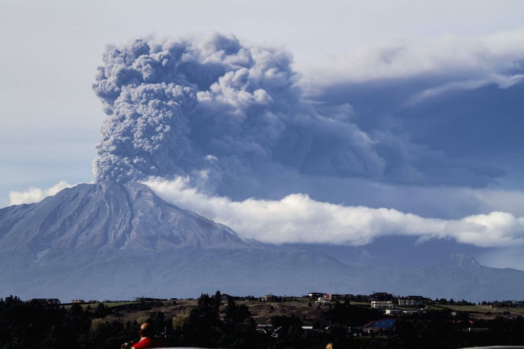 Smoke and ash rise from the Calbuco volcano in Puerto Varas, Llanquihue province, Chile, on April 30, 2015. Southern Chile's Calbuco volcano erupted again ...