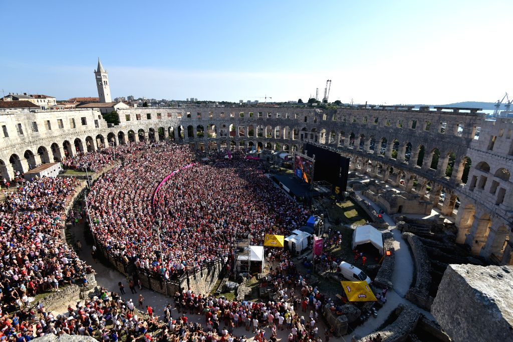 PULA, July 16, 2018 - Fans of Croatia watch the 2018 FIFA World Cup final match between Croatia and France at the ancient arena in Pula, Croatia. Croatia lost to France 2-4 and took the second place ...