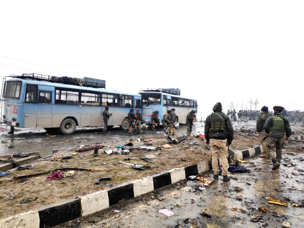 Pulwama: Pulwama: The site on on the Srinagar-Jammu highway where 20 Central Reserve Police Force (CRPF) troopers were killed and 15 others injured in an audacious suicide attack by militants in Jammu and Kashmir's Pulwama district on Feb 14, 2019. A
