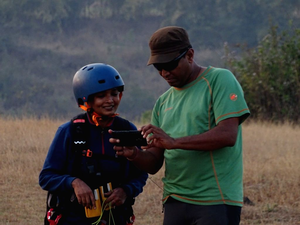 Pune: Amrapali Chavan, who lost her left leg in the infamous German Bakery blast, created history by becoming the first handicapped person in India to paraglide from the 2,200 feet high Kamshet Peak here, at sunset; in Pune on Feb 14, 2019. On Februa