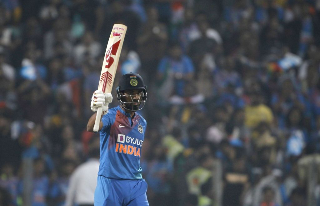 Pune: India's KL Rahul celebrates his half century during the 3rd T20I match between India and Sri Lanka at the Maharashtra Cricket Association Stadium in Pune on Jan 10, 2020. (Photo: Surjeet Yadav/IANS) - Surjeet Yadav