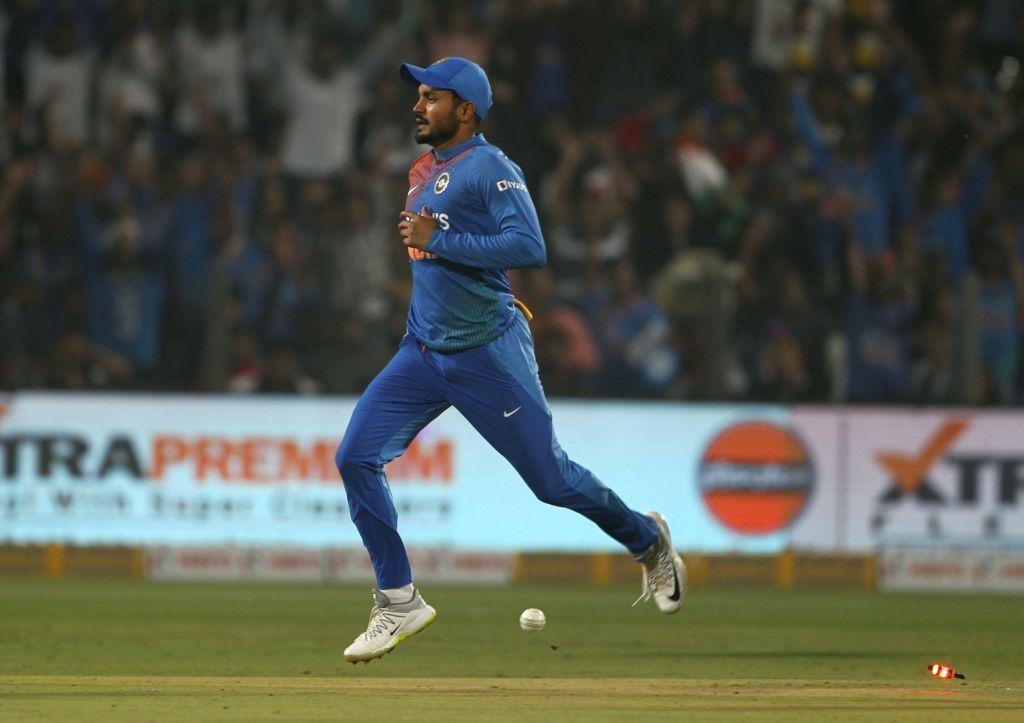 Pune: India's Manish Pandey celebrates fall of Oshada Fernando's wicket during the 3rd T20I match between India and Sri Lanka at the Maharashtra Cricket Association Stadium in Pune on Jan 10, 2020. (Photo: Surjeet Yadav/IANS) - Manish Pandey and Surjeet Yadav