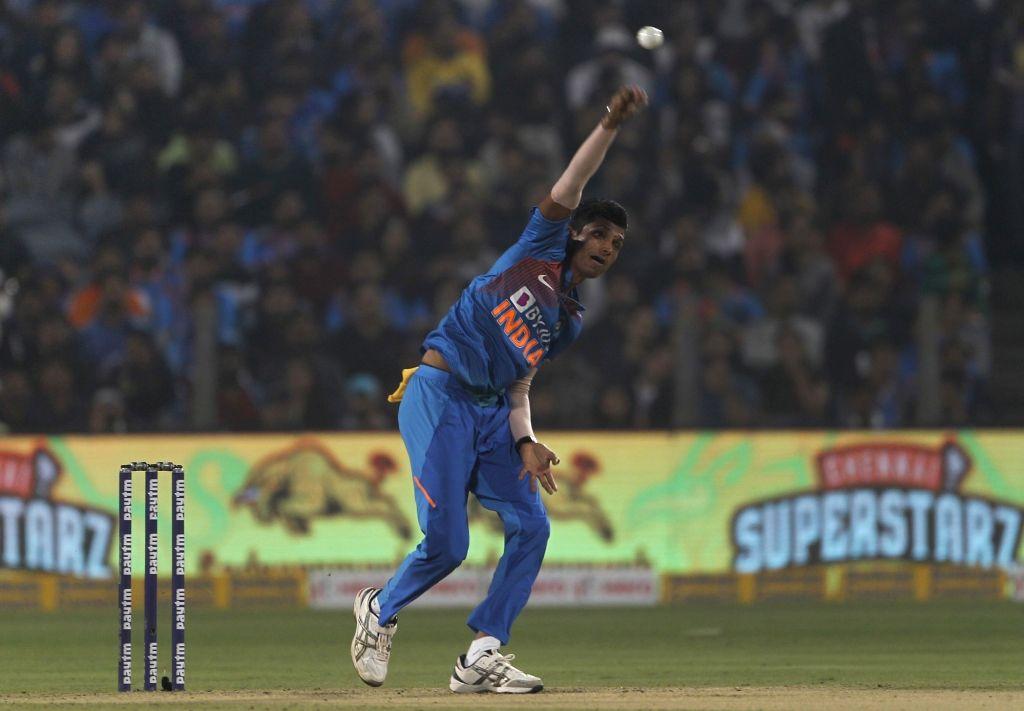 Pune: India's Navdeep Saini in action during the 3rd T20I match between India and Sri Lanka at the Maharashtra Cricket Association Stadium in Pune on Jan 10, 2020. (Photo: Surjeet Yadav/IANS) - Surjeet Yadav