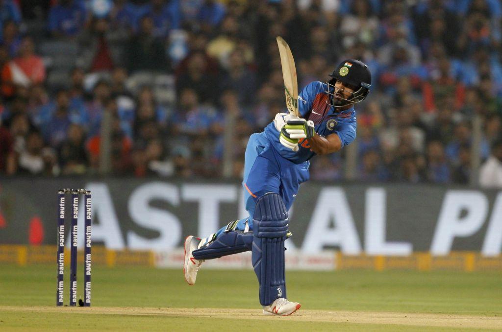 Pune: India's Shikhar Dhawan in action during the 3rd T20I match between India and Sri Lanka at the Maharashtra Cricket Association Stadium in Pune on Jan 10, 2020. (Photo: Surjeet Yadav/IANS) - Shikhar Dhawan and Surjeet Yadav