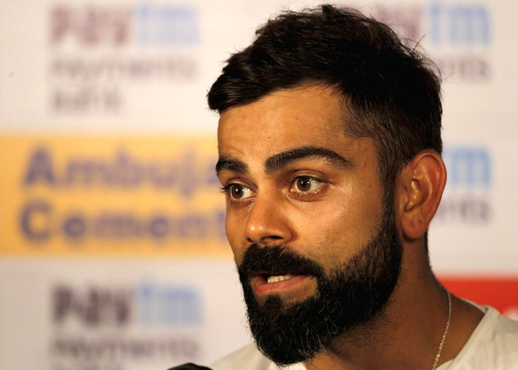 Pune: Indian skipper Virat Kohli addresses a press conference ahead of the 2nd Test match between India and South Africa, at Maharashtra Cricket Association Stadium in Pune, on Oct 9, 2019. (Photo: Surjeet Yadav /IANS) - Virat Kohli and Surjeet Yadav