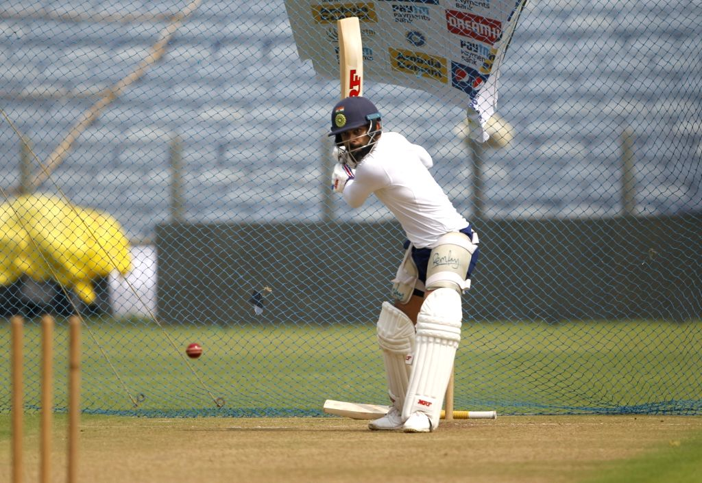 Pune: Indian skipper Virat Kohli during a practice session ahead of the 2nd Test match between India and South Africa, at Maharashtra Cricket Association Stadium in Pune, on Oct 9, 2019. (Photo: Surjeet Yadav /IANS) - Virat Kohli and Surjeet Yadav