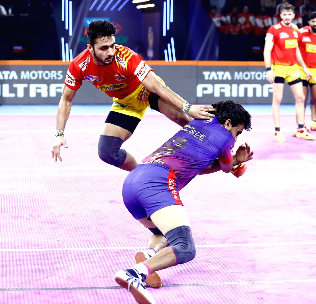 Pune: Players in action during Pro Kabaddi Season 7 match between Dabang Delhi KC and Gujarat Fortunegiants at Shree Shiv Chhatrapati Sports Complex in Pune on Sep 15, 2019. (Photo: IANS)