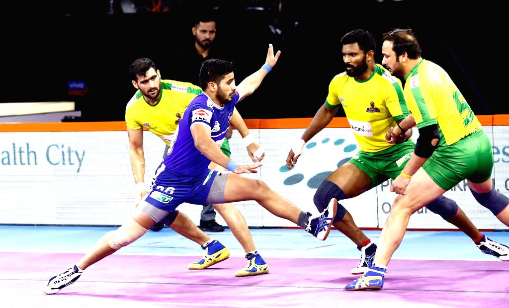 Pune: Players in action during Pro Kabaddi Season 7 match between Tamil Thalaivas and Haryana Steelers at Shree Shiv Chhatrapati Sports Complex in Pune on Sep 14, 2019. (Photo: IANS)