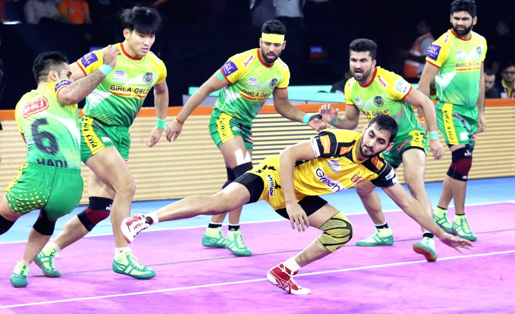 Pune: Players in action during Pro Kabaddi Season 7 match between Telugu Titans and Patna Pirates at Shree Shiv Chhatrapati Sports Complex in Pune on Sep 20, 2019. (Photo: IANS)