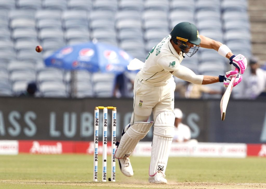 Pune: South Africa's Faf du Plessis in action on Day 4 of the second Test match between India and South Africa at Maharashtra Cricket Association Stadium in Pune, on Oct 13, 2019. (Photo: Surjeet Yadav /IANS) - Surjeet Yadav