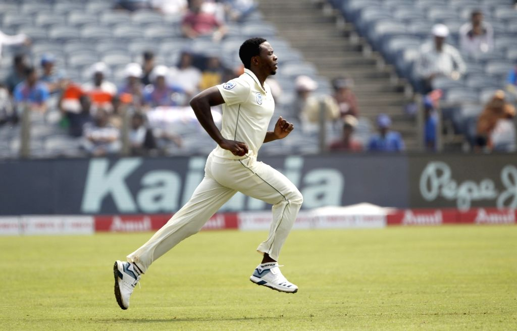 Pune: South Africa's Kagiso Rabada on Day 1 of the second Test match between India and South Africa at Maharashtra Cricket Association Stadium in Pune, on Oct 10, 2019. (Photo: Surjeet Yadav /IANS) - Surjeet Yadav