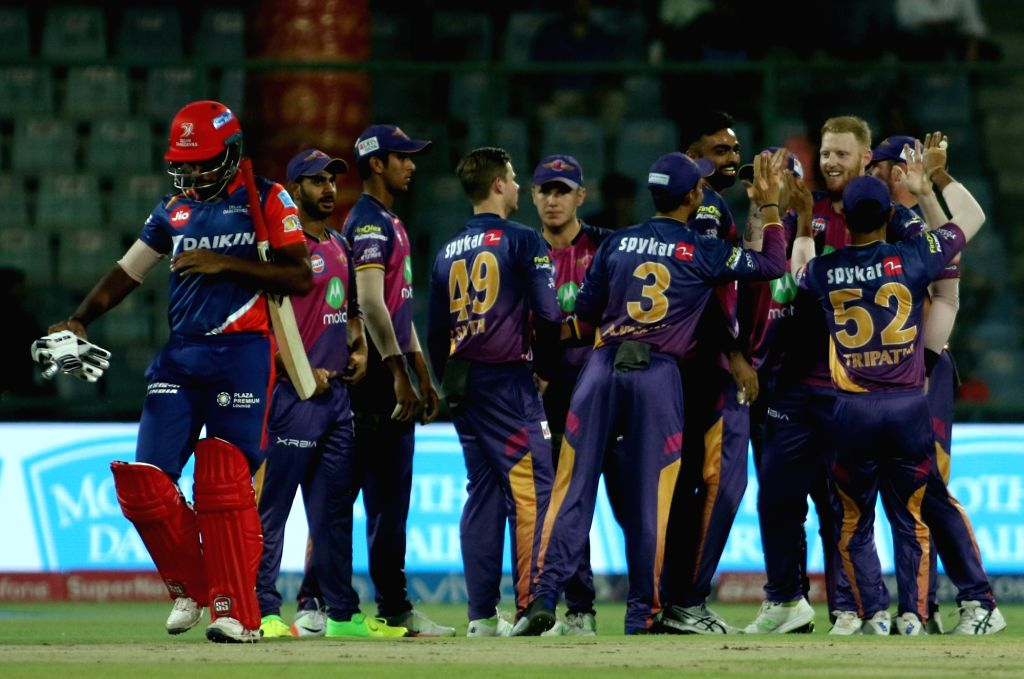 Pune Supergiant players celebrates the wicket of Sanju Samson of the Delhi Daredevils during the Vivo 2017 Indian Premier League match between the Delhi Daredevils and the Rising Pune ...